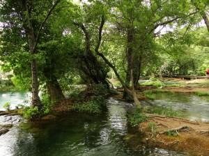 De beekjes in het Krka Park rondom de waterval - Op de achtergrond het wandelpad