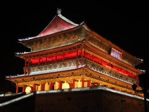 Xi'an Drumtower (in het donker)