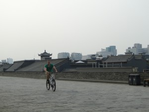 Xi'an Fietsen op de Stadsmuur