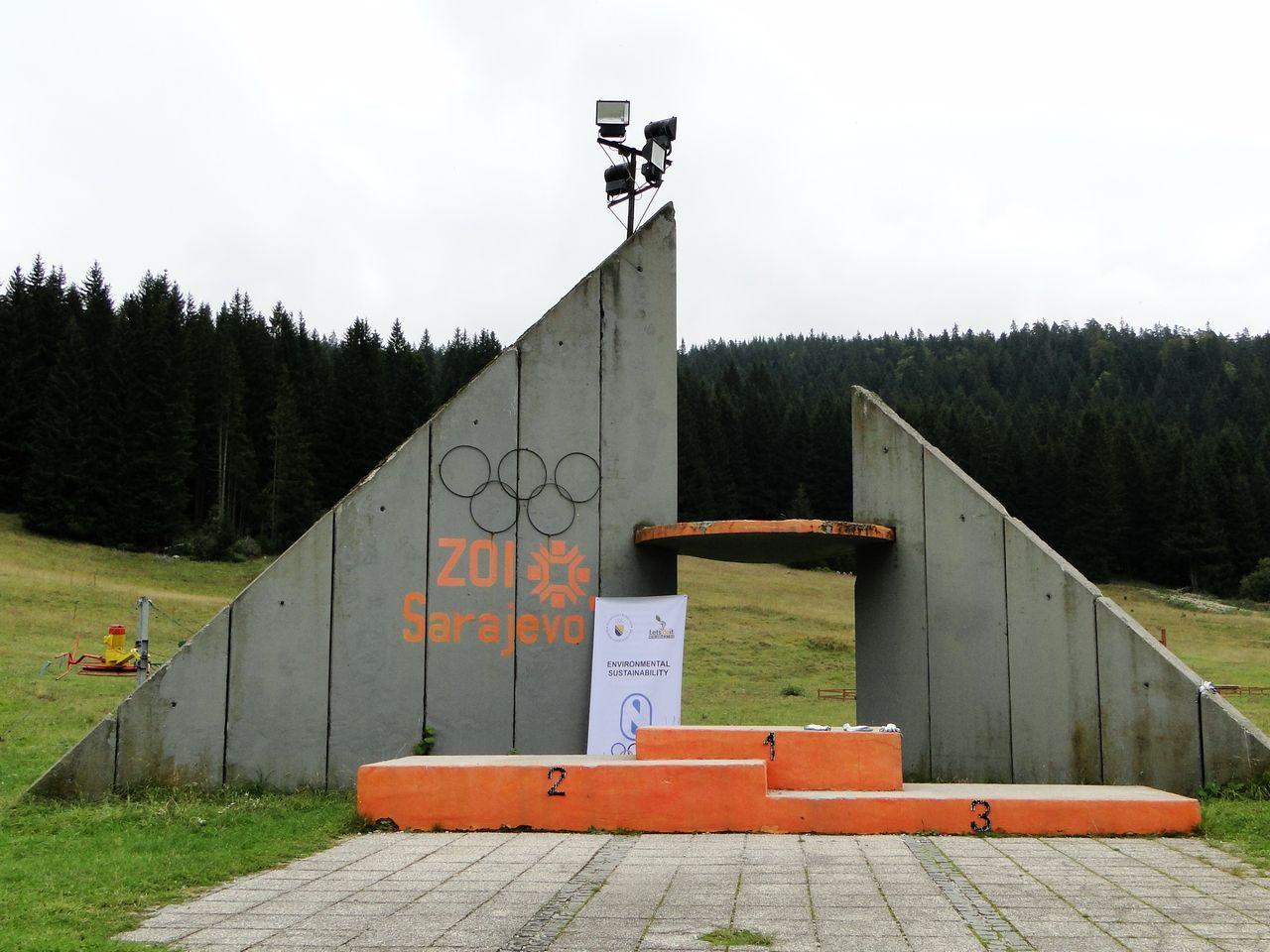 Sarajevo - abandoned places - Olympic Ski Jump medal plaza