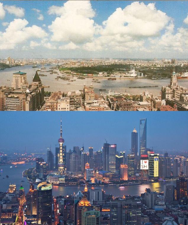 skyline Shanghai ontwikkeling