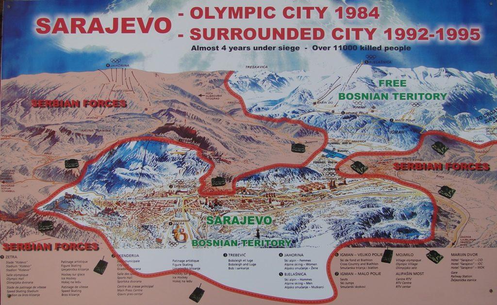 Bosnie Sarajevo - Kaart Belegering